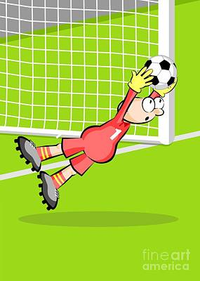 Football Digital Art - The Goalkeeper Jumps Catching The Ball In His Hands Preventing A Goal by Daniel Ghioldi