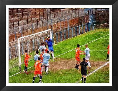 The Goalkeeper Saves A Goal Art Print by John Vito Figorito