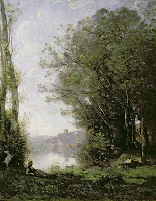 At Peace Painting - The Goatherd Beside The Water  by Jean Baptiste Camille Corot