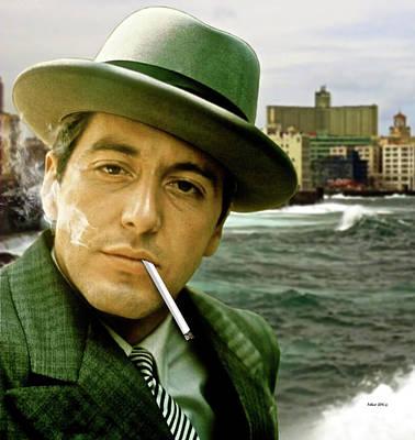 Cuba Mixed Media - The Godfather, Michael Corleone, Al Pacino, Avenida De Maceo, Havana, Cuba by Thomas Pollart
