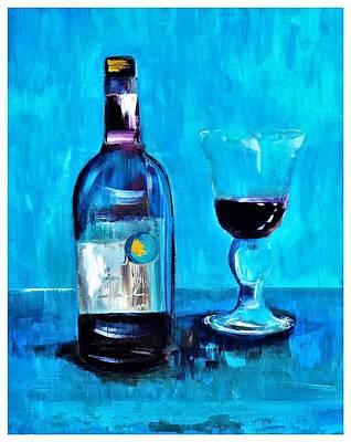 Digital Art - The Gold Star Wine Painting by Lisa Kaiser