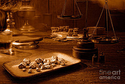 The Gold Trader Shop - Sepia Art Print by Olivier Le Queinec
