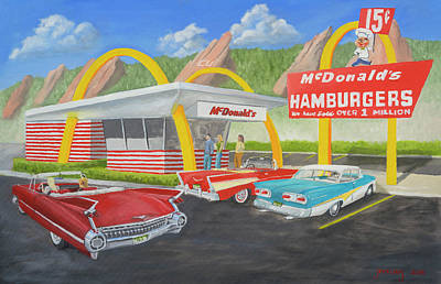 Landmarks Painting Royalty Free Images - The Golden Age Of The Golden Arches Royalty-Free Image by Jerry McElroy