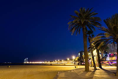 Photograph - The Golden Beach Of Barcelona - Bright Lights Blue Hour In La Barceloneta by Georgia Mizuleva