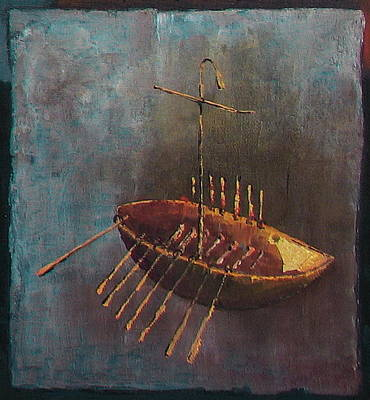 Painting - The Golden Boighter Boat by Val Byrne