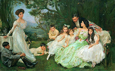 John Henry Frederick Bacon Painting - The Golden Butterfly. The Harvey Family by John Henry Frederick Bacon