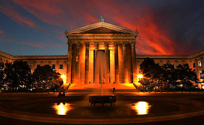 Entrance Memorial Photograph - The Golden Columns - Philadelphia Museum Of Art - Sunset by Lee Dos Santos