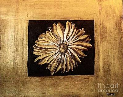 Metallics Painting - The Golden Daisy by Marsha Heiken