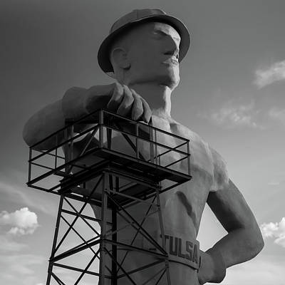 Photograph - The Golden Driller - Tulsa Oklahoma Square Art - Black And White by Gregory Ballos