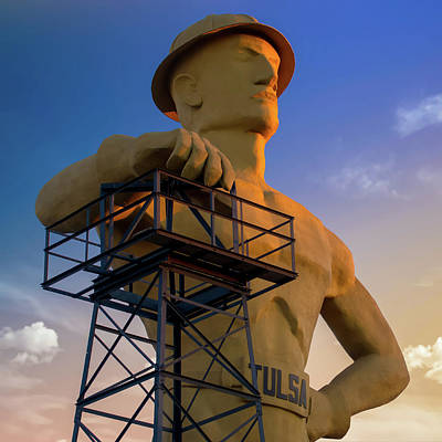 Photograph - The Golden Driller - Tulsa Oklahoma Square Art by Gregory Ballos