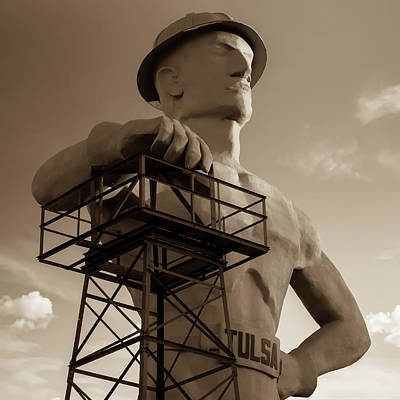Photograph - The Golden Driller - Tulsa Oklahoma Square Art - Sepia Edition by Gregory Ballos