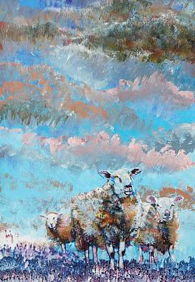 Painting - The Golden Flock - Colorful Sheep Art by Mike Jory