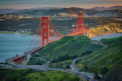 Traffic Photograph - The Golden Gate At Sunset by Rick Berk