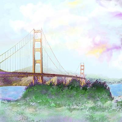 Digital Art - The Golden Gate by Victor Shelley