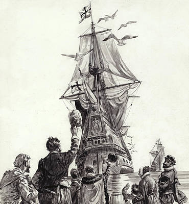 Sailboats Drawing - The Golden Hind  by CL Doughty