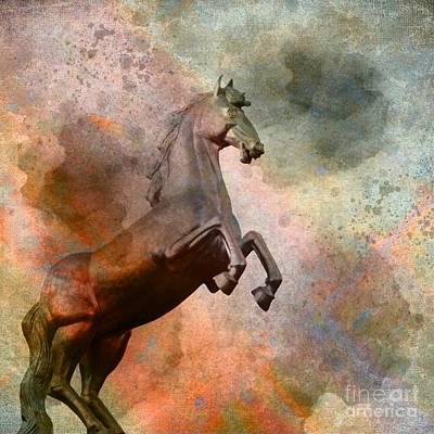 Digital Art - The Golden Horse by Issabild -