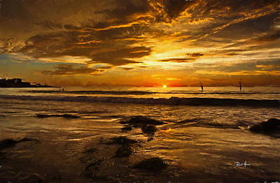 Sun Rays Painting - The Golden Hour At La Jolla Shores by Russ Harris