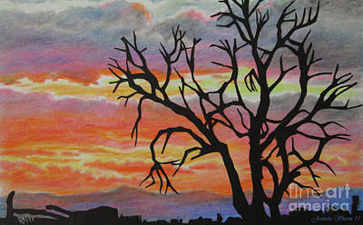 The Golden Hour Silhouette  Art Print by Jeanette Skeem