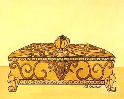 The Golden Jewelry Box Art Print by Marsha Heiken