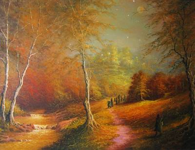 Golden Forest Of The Elves Art Print