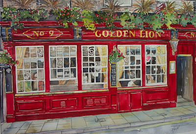 The Golden Lion Pub Art Print by Victoria Heryet