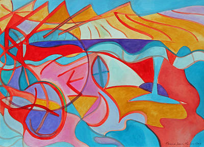Multicolored Painting - The Golden Mountains by Laura Joan Levine