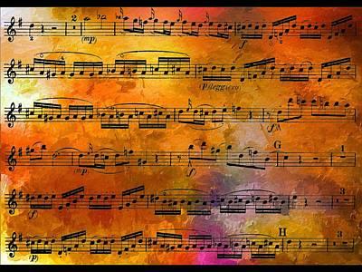 The Golden Music Of Motzart Art Print