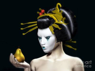 Pear Digital Art - The Golden Pear by Sandra Bauser Digital Art