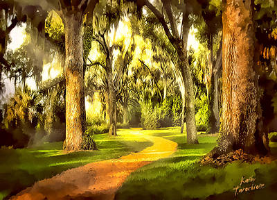 The Golden Road Art Print by Kathy Tarochione