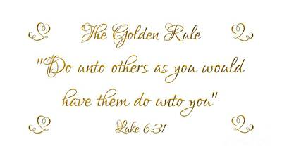 Photograph - The Golden Rule Do Unto Others On White by Rose Santuci-Sofranko
