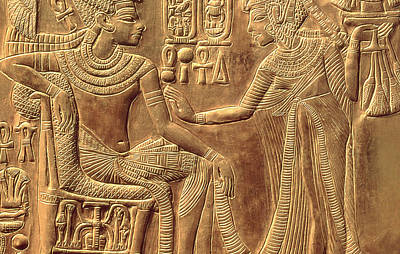 Hieroglyphics Relief - The Golden Shrine Of Tutankhamun by Egyptian Dynasty