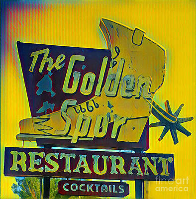 Photograph - The Golden Spur Restaurant Vintage Sign by Gregory Dyer