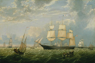 Painting - The Golden State Entering New York Harbor By Fitz Henry Lane 1854 by Fitz Henry Lane