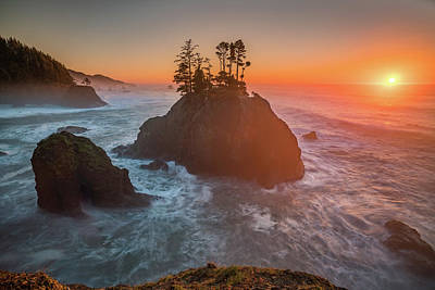 Photograph - The Golden Sunset Of Oregon Coast by William Lee