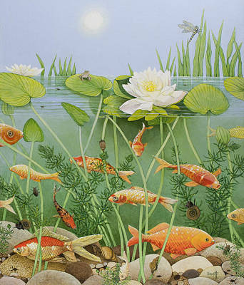 White Water Lilies Painting - The Golden Touch by Pat Scott