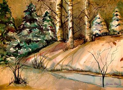 Fir Trees Drawing - The Golden Woods by Mindy Newman