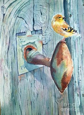 The Goldfinch And Blue Original by Patricia Pushaw