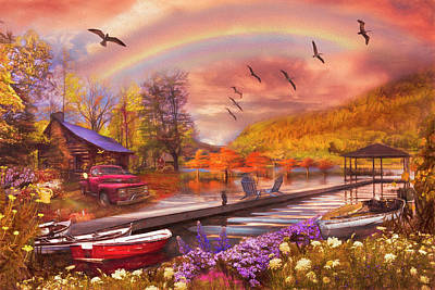 Photograph - The Good Life At The Lake Fall Painting by Debra and Dave Vanderlaan