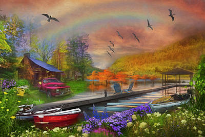 Photograph - The Good Life At The Lake Painting by Debra and Dave Vanderlaan