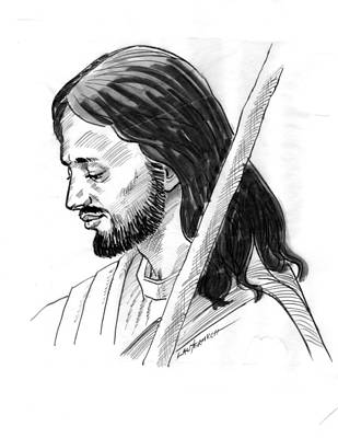 Drawing - The Good Shepard by John Lautermilch