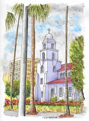 Beverly Hills Painting - Good Shepherd Catholic Church In Beverly Hills, California by Carlos G Groppa