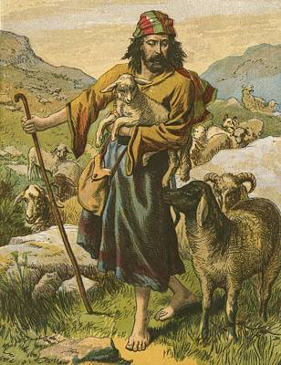 Sheep Painting - The Good Shepherd by English School
