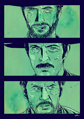 Spaghetti Drawing - The Good The Bad And The Ugly by Giuseppe Cristiano