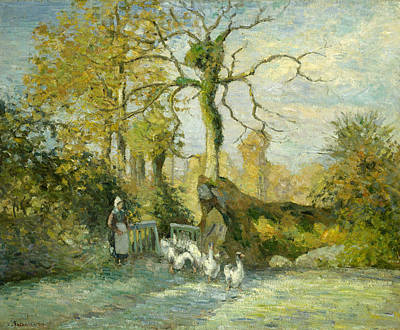 Painting - The Goose Girl At Montfoucault by Camille Pissarro