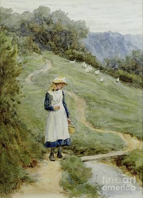 The Goose-girl  Art Print by Helen Allingham