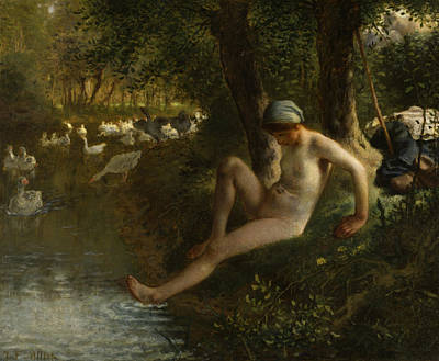 Geese Painting - The Goose Girl by Jean-Francois Millet