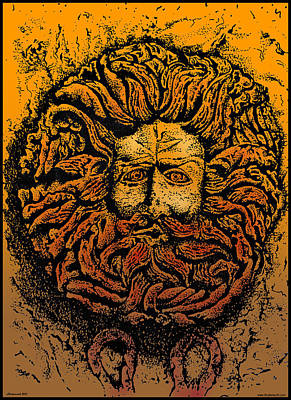 Reptiles Drawings - The Gorgon Man Celtic Snake Head by Larry Butterworth