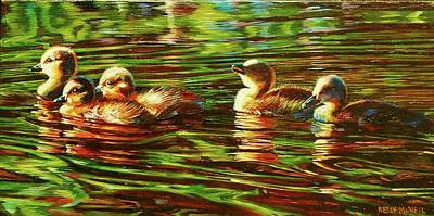 Gosling Painting - The Goslings by Kelly McNeil