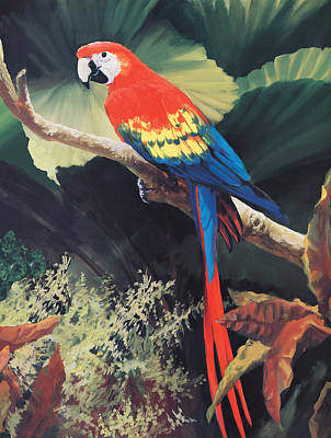 Tropical Leaves Painting - The Gossiper by Laurie Hein
