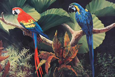 Multi-coloured Painting - The Gossipers by Laurie Hein